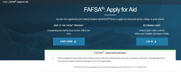 fafsa site message